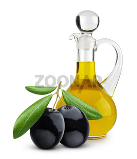 Bottle of extra virgin olive oil and black olives isolated on white background