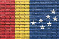 flag of Durham, North Carolina painted on brick wall