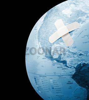 Globe with bandage