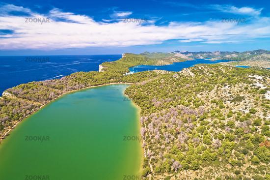 Telascica nature park and green Mir lake on Dugi Otok island aerial view