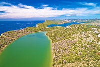 Telascica nature park and green Mir lake on Dugi Otok island aerial view