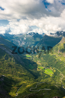 Geiranger fjord, view from Dalsnibba mountain, Norway