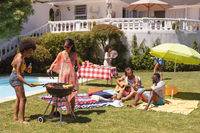Diverse group of friends having barbecue and talking at a pool party