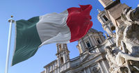 The italian flag flapping over Piazza Navona