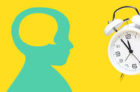 Head of kid, child and alarm clock hovering over yellow background. 5 to 12 clock.