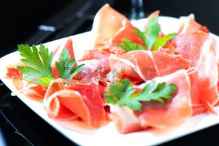 Hamon salad in white plate