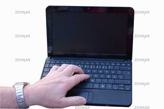 Notebook/Laptop mit Hand