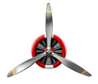 Vintage airplane propeller isolated on white background. 3D illustration