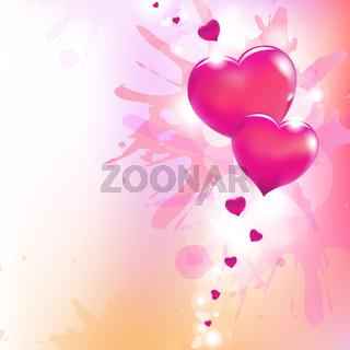 Valentines Hearts And Paint Splash