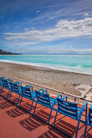 Beach Sea and Seats on French Riviera in Nice