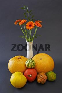 Kuerbisse mit Blumen und Vase