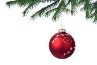 Christmas decoration ball and fir branch