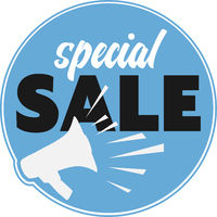 round SPECIAL SALE announcement sticker or sign with megaphone