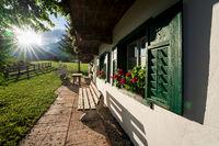Traditional Austrian house, former film set of the series 'Der Bergdoktor', Wildermieming, Tirol, Austria