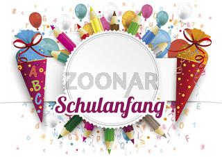 Schulanfang Emblem Balloons Letters Candycones Pencils