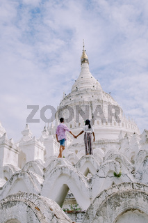 Mandalay Myanmar, Hsinbyume Pagoda, a famous buddhist temple painted in white, located close to Mandalay, Myanmar