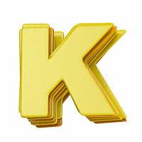 Yellow font Letter K 3D