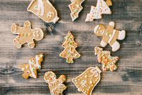 Christmas gingerbread cookies on a wooden board.