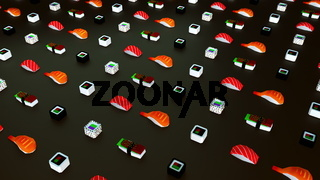 Rows of low poly sushi rolls