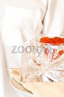 presentation illumination ice cube with caviar