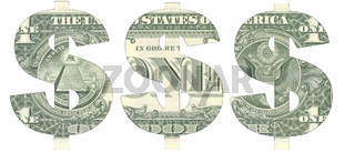 Stencil of the USD symbol on one-dollar bill