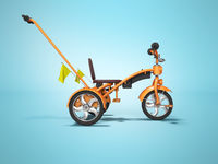 Orange kids bike with telescopic handle side view 3d render on blue background with shadow