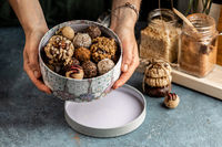 Candy bar concept with zero sugar sweets. Delicious homemade and healthy truffles, biscuits and cookies.