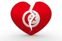 Broken white heart shape with Tunisia flag