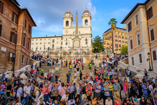 Tourists on Spanish Steps in Rome, Italy