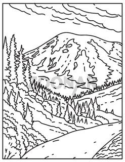 Mount Rainier in Mount Rainier National Park Located in Washington State United States Mono Line or Monoline Black and White Line Art