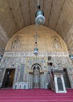 Monumental main Iwan of Mamluk era historical Mosque and Madrasa of Sultan Hassan, Cairo, Egypt