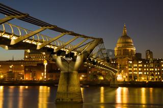 Illuminated Cityscape of London at twilight