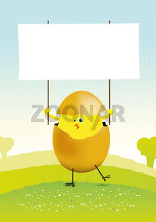 Tiny Easter Chicken in a spring landscape