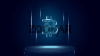 Bitcoin BTC token symbol above the pedestal. Cryptocurrency logo icon. Vector illustration for website or banner.