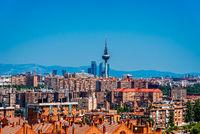 Skyline of Madrid from Tio Pio Park