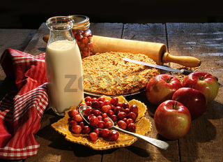Freshly baked apple and cranberry pie