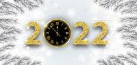 Clock 2022 Frozen Branches Snowfall Christmas Header