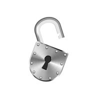 Open vintage metal lock isolated on white