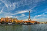 Paris France, city skyline at Eiffel Tower and Seine River Debilly Footbridge with autumn foliage season
