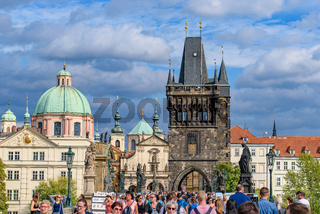 People on the Charles Bridge in Prague, Czech Republic