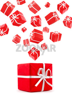 flying red gift boxes