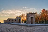 Madrid Spain, sunset city skyline at Temple of Debod with autumn foliage season