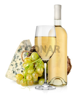 Blue cheese wine and grapes in basket