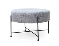 Upholstered round gray footstool