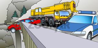 Unfall auf Brücke