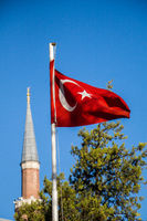 Turkish national flag  in view