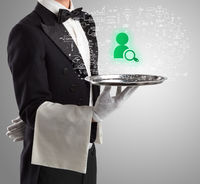 Close-up of waiter serving social media icons