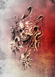 Sketch of tattoo art, monster heads under skin