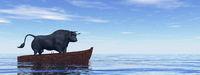 Bison standing on a wooden boat - 3D render