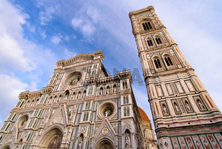 Cathedral of Saint Mary of the Flower (Duomo di Firenze) and Giotto's Campanile in Florence , Italy
